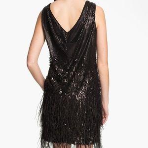 JESSICA SIMPSON Black Sequins feather cocktail